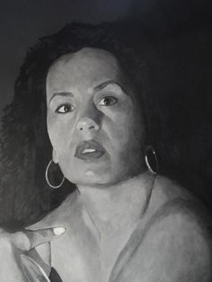 portret van rose acrylverf in zwart/wit 85 x 110 cm.