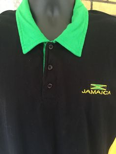 G2 Jamaica Polo T Shirt Size Medium Short Sleeves Black Gold Green 100% Cotton #G2 #Everyday