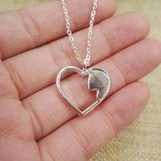 Jewelry Heart/cat Lovers