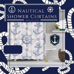 Drastically enhance your bathroom decor with a soft & stylish fabric shower curtain from Shower Curtain Art. Nautical Shower Curtains, Shower Curtain Art, Fabric Shower Curtains, Downstairs Bathroom, Master Bathroom, Shower Accessories, Bathroom Interior Design, Bathroom Fixtures, Home Decor Styles