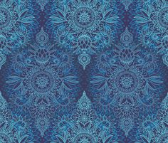 Navy and Aqua Protea Doodle fabric by micklyn on Spoonflower - custom fabric