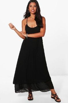 #boohoo Double Layer Maxi Dress - coral DZZ48227 #Hannah Double Layer Maxi Dress - coral