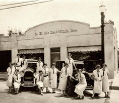 D.E. McDaneld Packard store, vintage cars and lots of girls back in Whittier, California. They even used girls to sell cars back then. 1925.