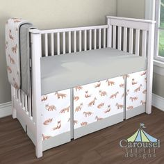 Crib bedding in Watercolor Fox, Solid Silver Gray, Silver Gray Minky. Created using the Nursery Designer® by Carousel Designs where you mix and match from hundreds of fabrics to create your own unique baby bedding. #carouseldesigns