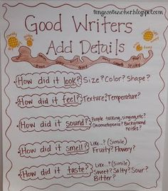 INSTRUCTION/ ASSESSMENT: Showing Telling Adding Details Writing. I would expand the idea of the branch further, and allow students to add descriptions on their own leaves. Again, I am big on the classroom environment being a reflection of the students! Writing Strategies, Writing Lessons, Writing Resources, Writing Skills, Writing Process, Writing Test, Writing Ideas, Writing Services, Kindergarten Writing