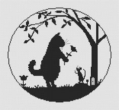 Friendship Cat and Mouse Counted Cross Stitch Pattern Chart PDF Digital Download monochrome silhouette by CGabrielNeedlework on Etsy https://www.etsy.com/listing/258992879/friendship-cat-and-mouse-counted-cross