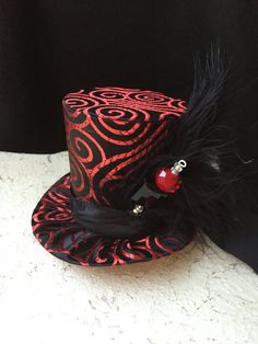 Red and Black Brocade Mad Hatter Mini Top Hat by daisyleedesign