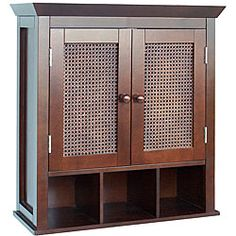 @Overstock - Organize and decorate your bathroom simultaneously with this traditional two-door wall cabinet. This accent piece features an espresso finish, hand-woven cane door panels and three cubbies that let you display pretty soaps or bottles.http://www.overstock.com/Home-Garden/Jasper-2-door-Wall-Cabinet/4310734/product.html?CID=214117 $70.47