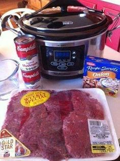 Crockpot cube steak-Family size cube steak, 2small cans cream of mushroom, 1 envelope onion soup mix, 3/4C water. Low all day. Makes good gravy. Serve with rice,noodles, mashed taters