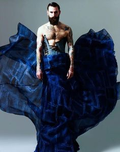 Ricki Hall (British model, b. by Ram Shergill for Ziad Ghanem Couture Fashion Moda, Look Fashion, Fashion Art, High Fashion, Mens Fashion, Fashion Design, Ricki Hall, Man Skirt, Men In Kilts