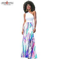 SEBOWEL Floor Length Summer Bohemian Skirt A Line High Waist Long Skirt Women Geometric Print Fashion Boho Maxi Skirt Beach Wear
