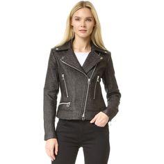 Veronica Beard Bonita Biker Moto Jacket ($750) ❤ liked on Polyvore featuring outerwear, jackets, moto jacket, leather motorcycle jacket, biker jacket, motorcycle jacket and fleece-lined jackets