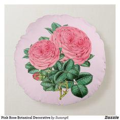 Pink Rose Botanical Decorative Round Pillow