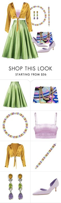 """""""Amethyst, Citrine, and Peridot Inspired"""" by empath-eye ❤ liked on Polyvore featuring Bambah, Emilio Pucci, Boohoo and Manolo Blahnik"""
