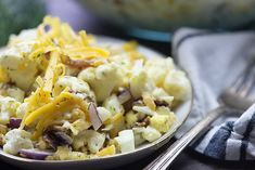 Loaded cauliflower salad! It's a great low carb side dish recipe!
