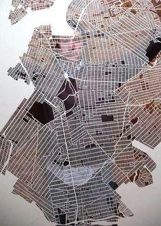 Laser cut maps by KMO