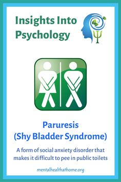Paruresis, also known as shy bladder syndrome, is a form of social anxiety disorder that makes it difficult for people to use public bathrooms due to fear of scrutiny. It's more common in males, and can be quite disabling. #paruresis #shybladdersyndrome #anxiety #socialanxiety #anxietydisorders #mentalhealth