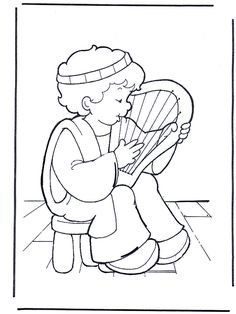 David makes music - Old Testament Bible Story Crafts, Bible Crafts For Kids, Bible Stories, Sunday School Activities, Sunday School Crafts, Bible Heroes, Sunday School Coloring Pages, David And Goliath, Bible Coloring Pages