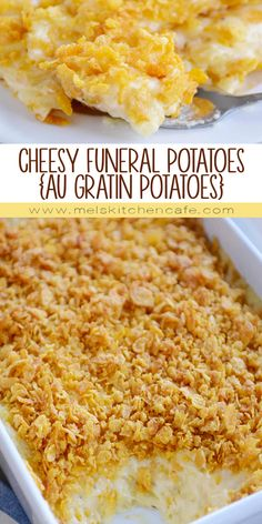 Cheesy Funeral Potatoes (Au Gratin Potatoes)These cheesy funeral potatoes (i.) with that buttery cornflake topping are so easy and delicious! Plus that easy homemade sauce is canned soup free and tastier than Cereal Recipes, Casserole Recipes, Dessert Recipes, Skillet Recipes, Ham And Potato Casserole, Cheesy Hashbrown Casserole, Casserole Dishes, Desserts, Potatoes Au Gratin