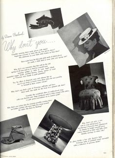 """* WHY DON'T YOU the double pages by Diana Vreeland, Harper's Bazaar, December 1936 issue (first year Diana Vreeland works for """"Bazaar"""", who started on March 1936)"""