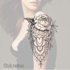Rose Diamond and Mandala Tattoo Design Mandala Tattoo Design, Dotwork Tattoo Mandala, Mandala Tattoo Sleeve, Forearm Sleeve Tattoos, Flower Tattoo Designs, Leg Tattoos, Girl Tattoos, Tattoo Arm, Woman Tattoos