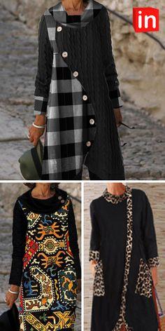 Winter Fashion Outfits, Boho Fashion, Fashion Dresses, Retro Outfits, Trendy Outfits, Over 50 Womens Fashion, Ladies Fashion, Clothes Crafts, Winter Coats Women