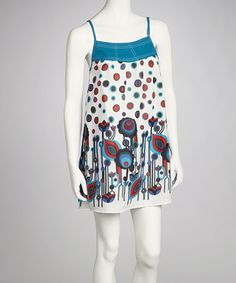 Take a look at this White & Blue Floral Polka Dot Dress by Funky People on #zulily today!