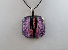 Purple Dichroic Glass Pendant by ZacInTheBoxCreations on Etsy