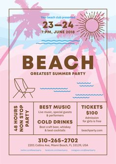 This poster is part of our Ultimate Event Poster Bundle — --- Beach party event poster. Poster Design Software, Poster Design Layout, Event Poster Design, Event Posters, Poster Design Inspiration, Graphic Design Posters, Poster Designs, Simple Poster Design, Cover Design