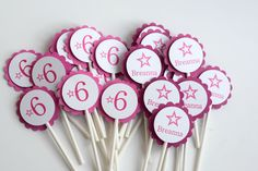 Birthday girl cupcake toppers, Doll party Cupcake Toppers, Star Party cupcake toppers by SprinkledCelebration on Etsy https://www.etsy.com/listing/177322375/birthday-girl-cupcake-toppers-doll-party