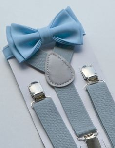 This stylish LIGHT BLUE BOW TIE & GREY SUSPENDERS are great for so many occasions!  BABY SET (6 - 18 mo): ~ BOW TIE - pre-tied and made with a 13.5 long