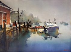 Foggy Morning on the Coast - Maine Thomas W Schaller - Watercolor 18x24 inches  Nov. 2015