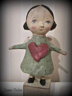 Angel with a heart papier mache doll OOAK art doll by Joannabolton, $55.00