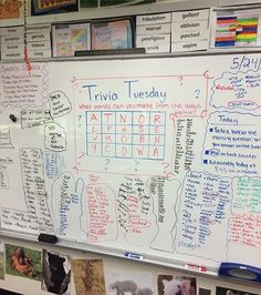Catching up on some posts! Trivia Tuesday's were definitely the most popular I did for the class. The kids always made it into a competition to who could find the most words! Some even found a few vocabulary words Classroom Whiteboard, Classroom Fun, Future Classroom, Classroom Organization, Classroom Management, Morning Activities, Bell Work, 4th Grade Writing, Responsive Classroom