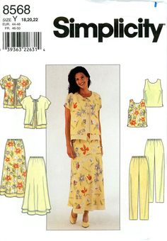 Sewing Pattern - Misses 1999 Jacket, Top, Pants, and Skirt, Simplicity 8568 Sizes 18, 20, 22