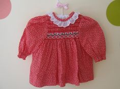 Vintage Red Polly Flinders Smocked Dress