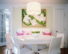I like the straight bench with round table and side chairs -- Manuel Canovas Trellis Wallpaper