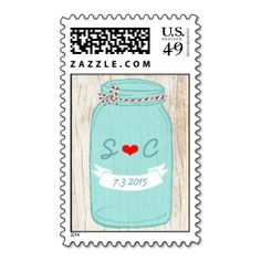 Red and Mint Mason Jar Wedding Postage Stamps. Wanna make each letter a special delivery? Try to customize this great stamp template and put a personal touch on the envelope. Just click the image to get started!