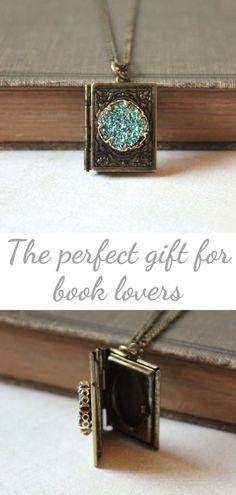 Miniature Book Locket Necklace - Square Locket - Druzy Locket Pendant - Antique Gold Lockets - Unique Gift for Readers - Gift for Women Gifts For Readers, Gifts For Your Mom, Gifts For Women, Acorn Necklace, Locket Necklace, Charm Necklaces, Gold Locket, Fall Jewelry, Book Lovers Gifts