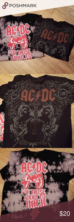 "Ac/Dc T shirt bundle. These shirts are definitely ""For those about to Rock""  that one is an XL, the other is a large. Small hole on the back of neck band of th darker one. AC/DC, when music was music Shirts Tees - Short Sleeve"