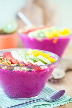 Acai is great! But we've got a secret crush on dragon fruit, the bright purple base for this gorgeous smoothie bowl.