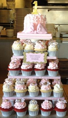 Pretty in Pink 1st Birthday/Baptism Cupcake Tower By BBSpecialtyCakes on CakeCentral.com