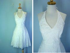 Vintage Lace Dress / 1980s White Halter Dress / s-m. $28.00, via Etsy.