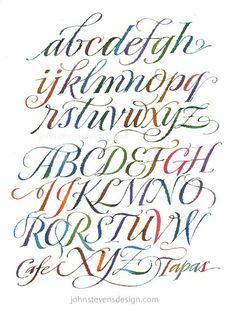 68 ideas tattoo fonts cursive pretty hand lettering for 2019 Tattoo Lettering Fonts, Watercolor Lettering, Lettering Styles, Lettering Design, Watercolor Calligraphy Alphabet, Caligraphy Alphabet, Hand Lettering Alphabet, Penmanship, Pretty Fonts Alphabet