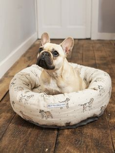 Mutts and Hounds Natural Linen Dog Print Donut Dog Bed, £88.00