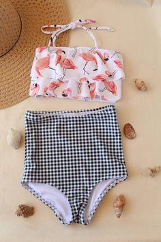 2020 Women Swimsuits Bikini Retro Bikini 2 Piece Skirt Swimsuits Women'S Two Piece Bathing Suit With Shorts Underwear Sale Best Swimsuits, Two Piece Swimsuits, Women Swimsuits, Cute Swimsuits High Waisted, Flamingo Bikini, Bikini Swimsuit, High Waist Swimsuit, Bandeau Bikini, Bikini Girls