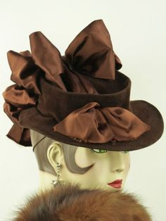 VINTAGE-HAT-1930s-RARE-LILLY-DACHE-BROWN-FELT-TILT-WITH-SATIN-RIBBONS-BOWS