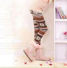 New Fashion Womens Soft Knitted Warm Multi-patterns Leggings Tights Pants winter Winter Socks, Warm Socks, Cool Socks, Sweaters And Leggings, Tight Leggings, Stylish Outfits, Cute Outfits, New Fashion, Womens Fashion