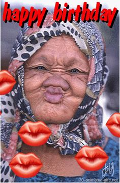 funny animated gifs ecards   animation gif  lip kisses old lady no teeth, click link to see them moving,  http://vivesharing.blogspot.com