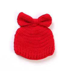 Brand Newborn Baby Wool Cute 100%Handmade Infant Butterfly Red Cap 0-3month  Baby 401c55c8cb97
